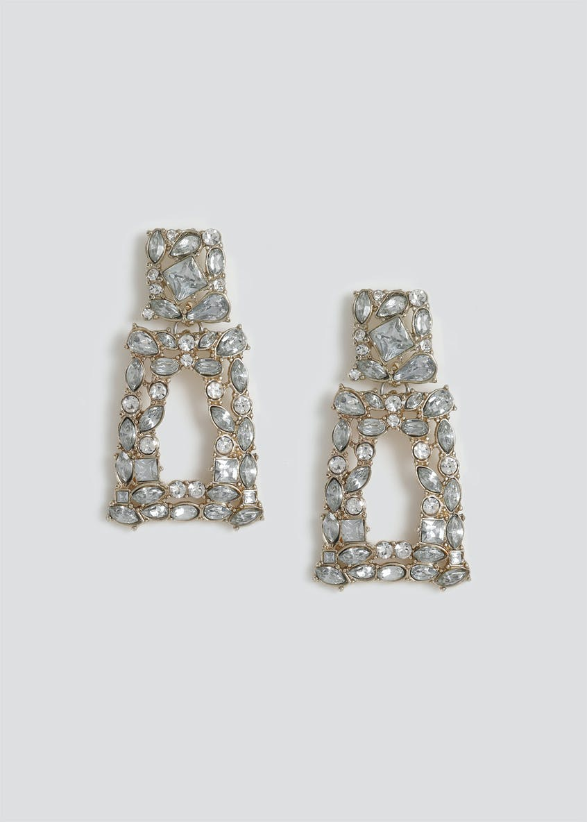 Rhinestone Door Knocker Earrings