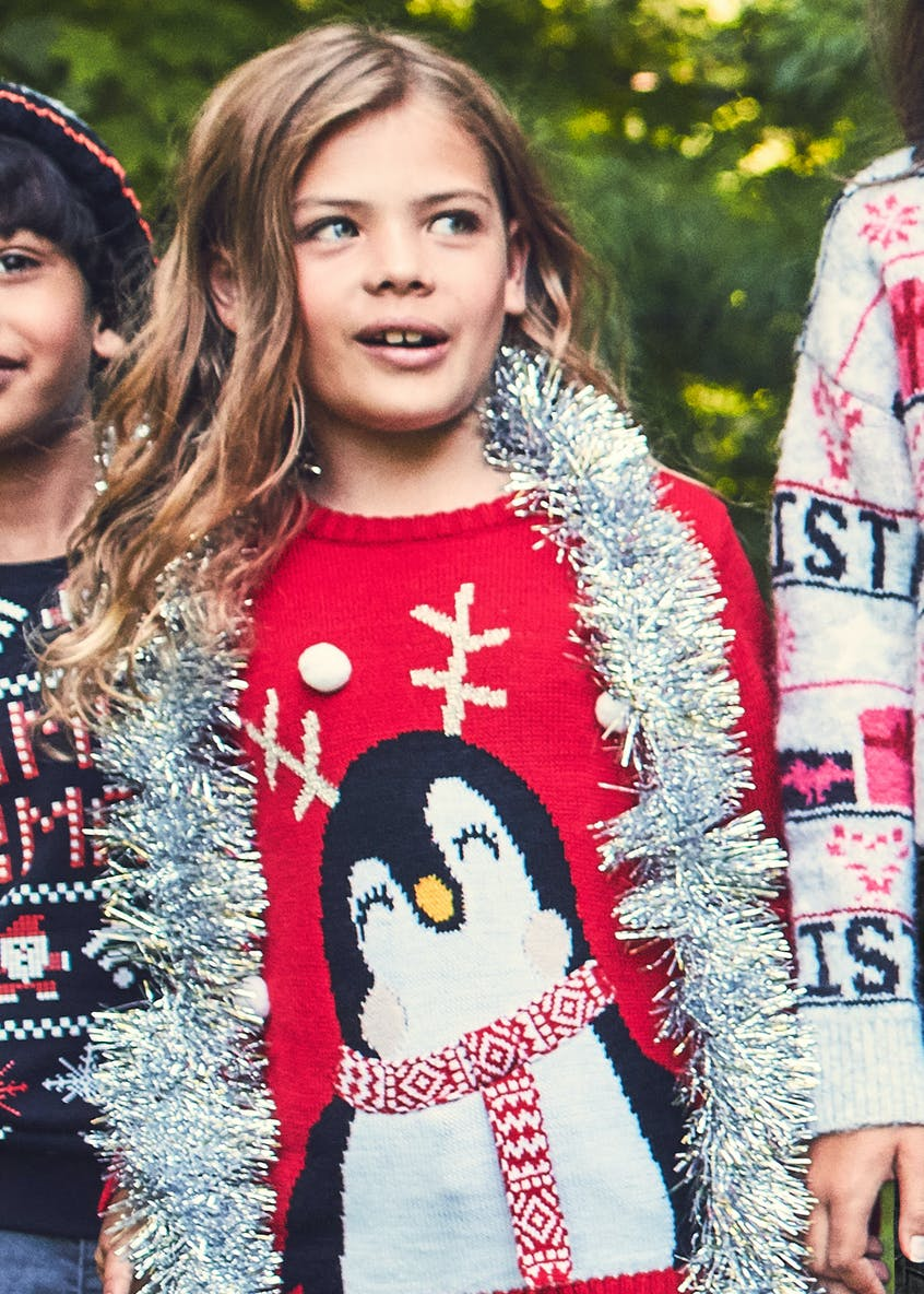 Kids Christmas Penguin Jumper (4-13yrs)
