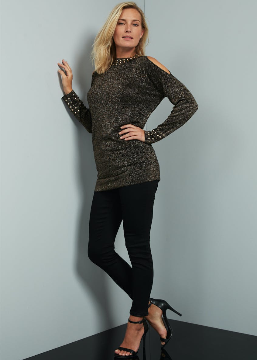 Soon Long Sleeve Studded Cold Shoulder Tunic Top