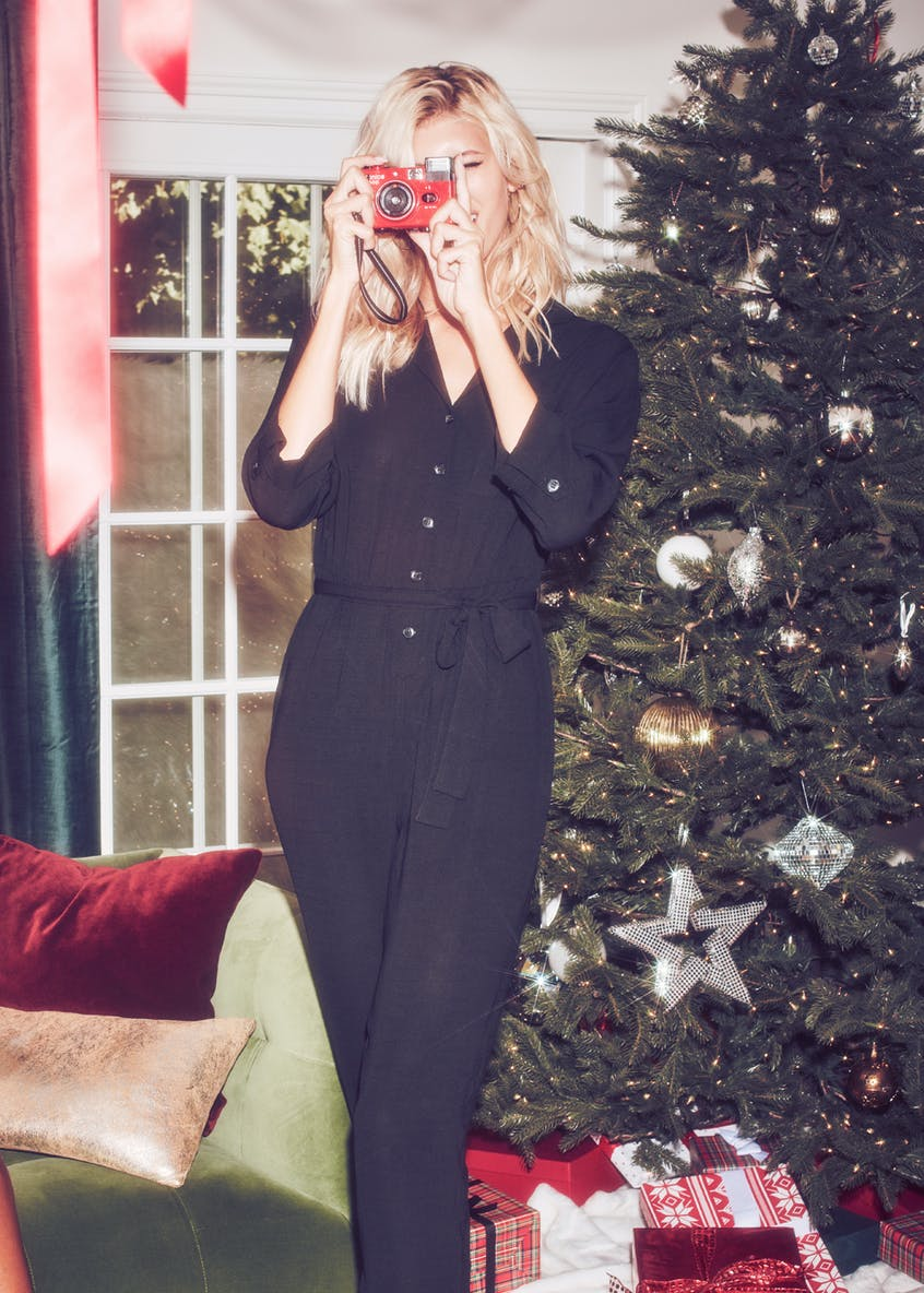 Long Sleeve Belted Utility Jumpsuit