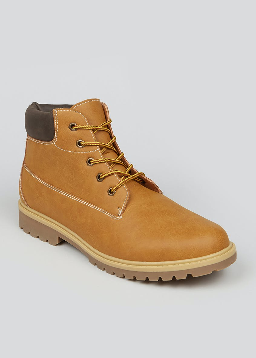 Tan Lace Up Cleated Worker Boots