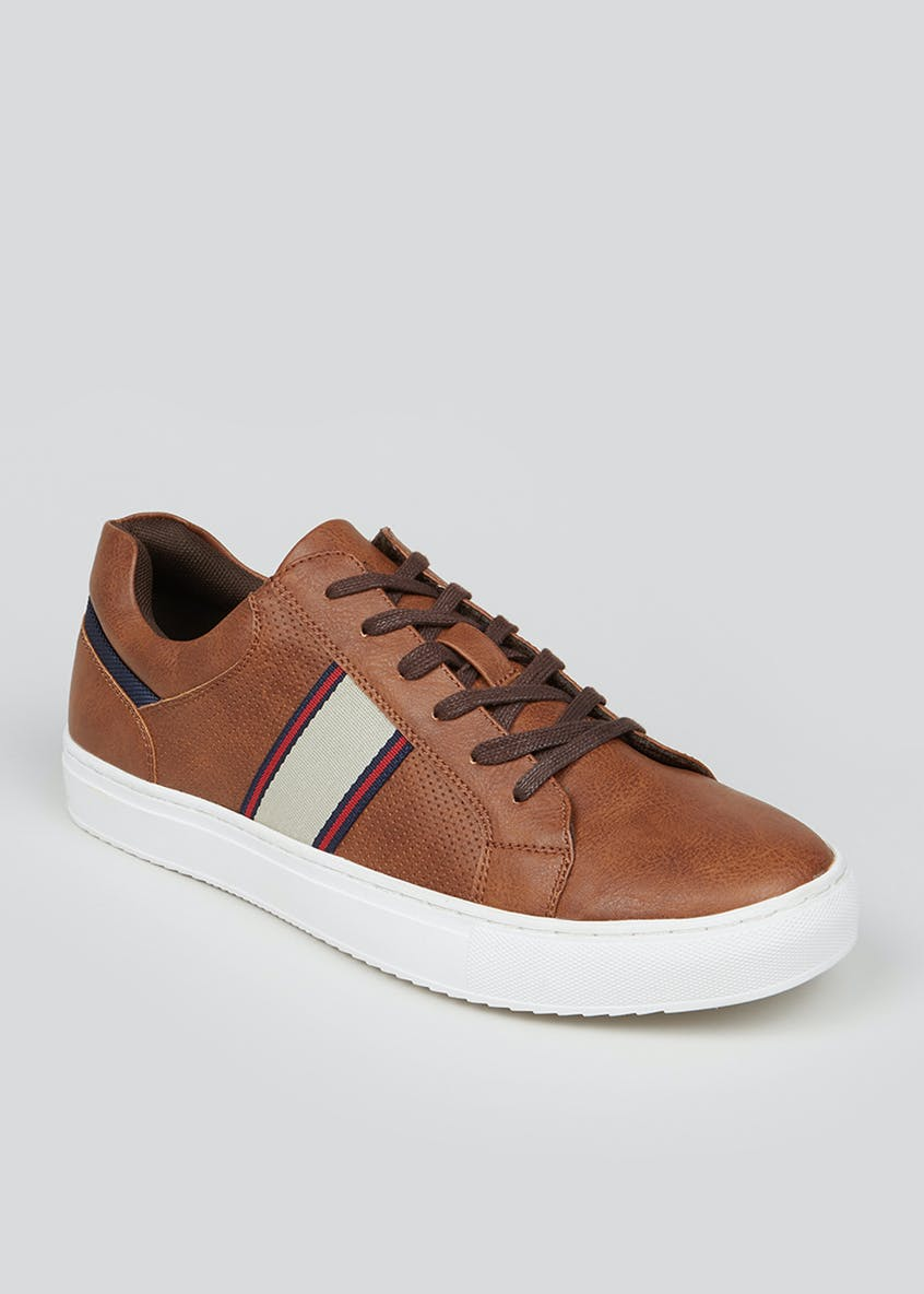 Brown Cupsole Lace Up Trainers
