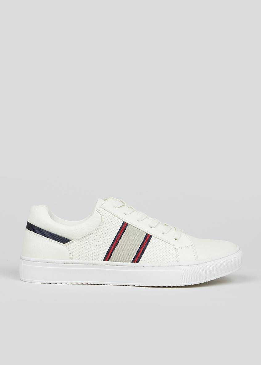 White Cupsole Lace Up Trainers