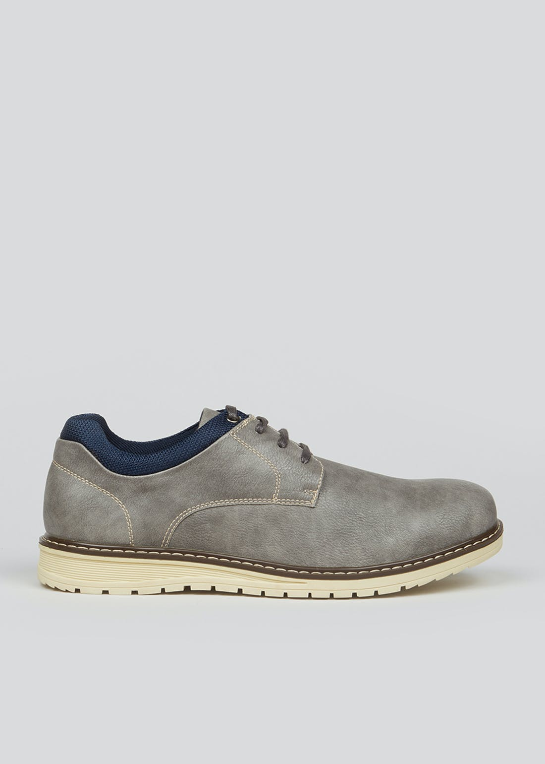Wide Fit Grey Lace Up Shoes