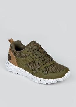 Boys Khaki Lace Up Trainers (Younger 10-Older 6)