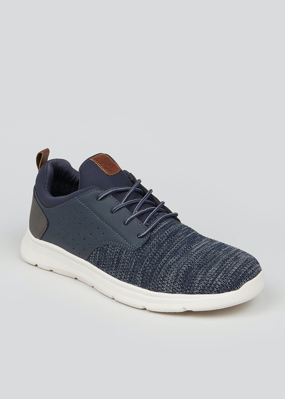 Navy Lace Up Knitted Panel Trainers