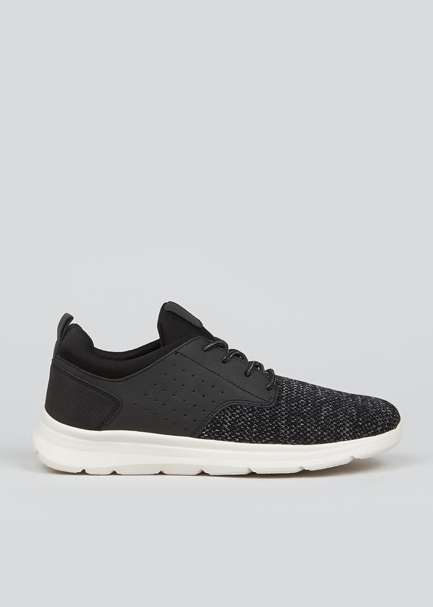 Black Lace Up Knitted Panel Trainers