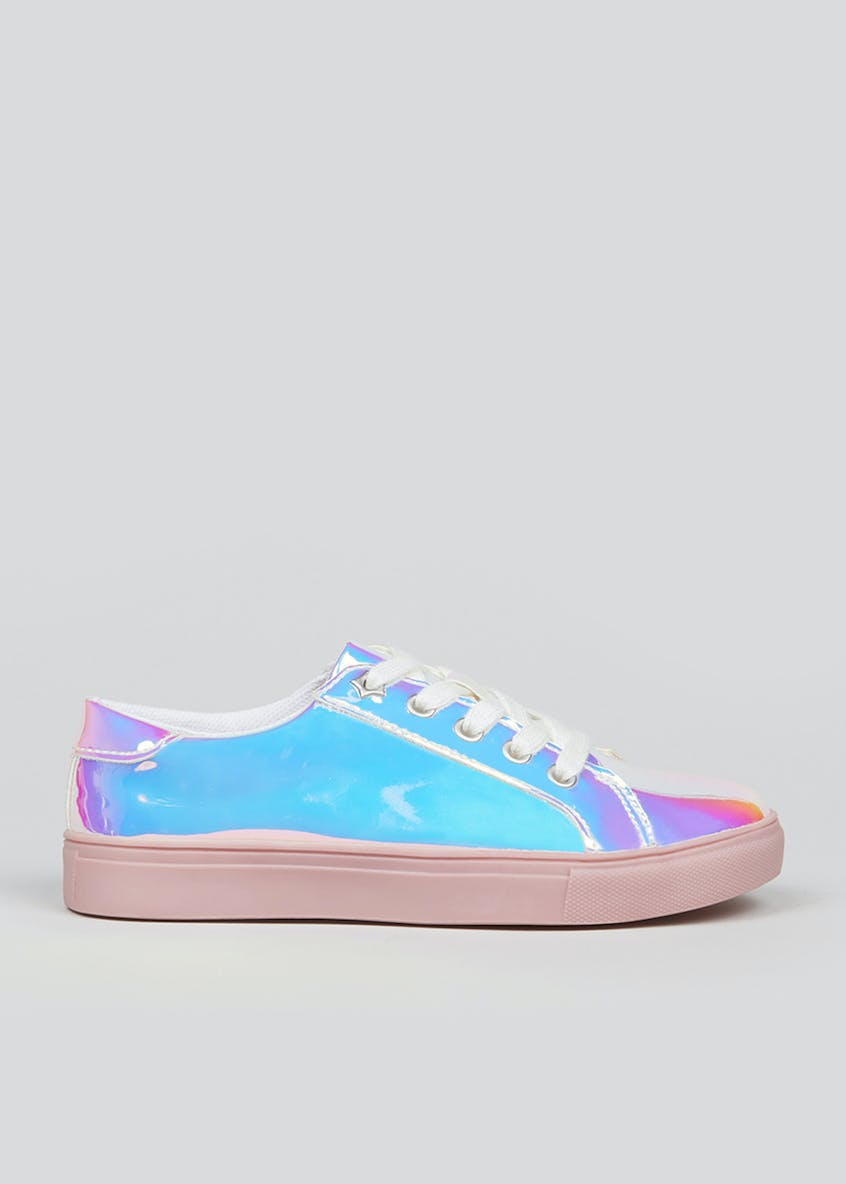 Girls Iridescent Lace Up Trainers (Younger 10-Older 5)