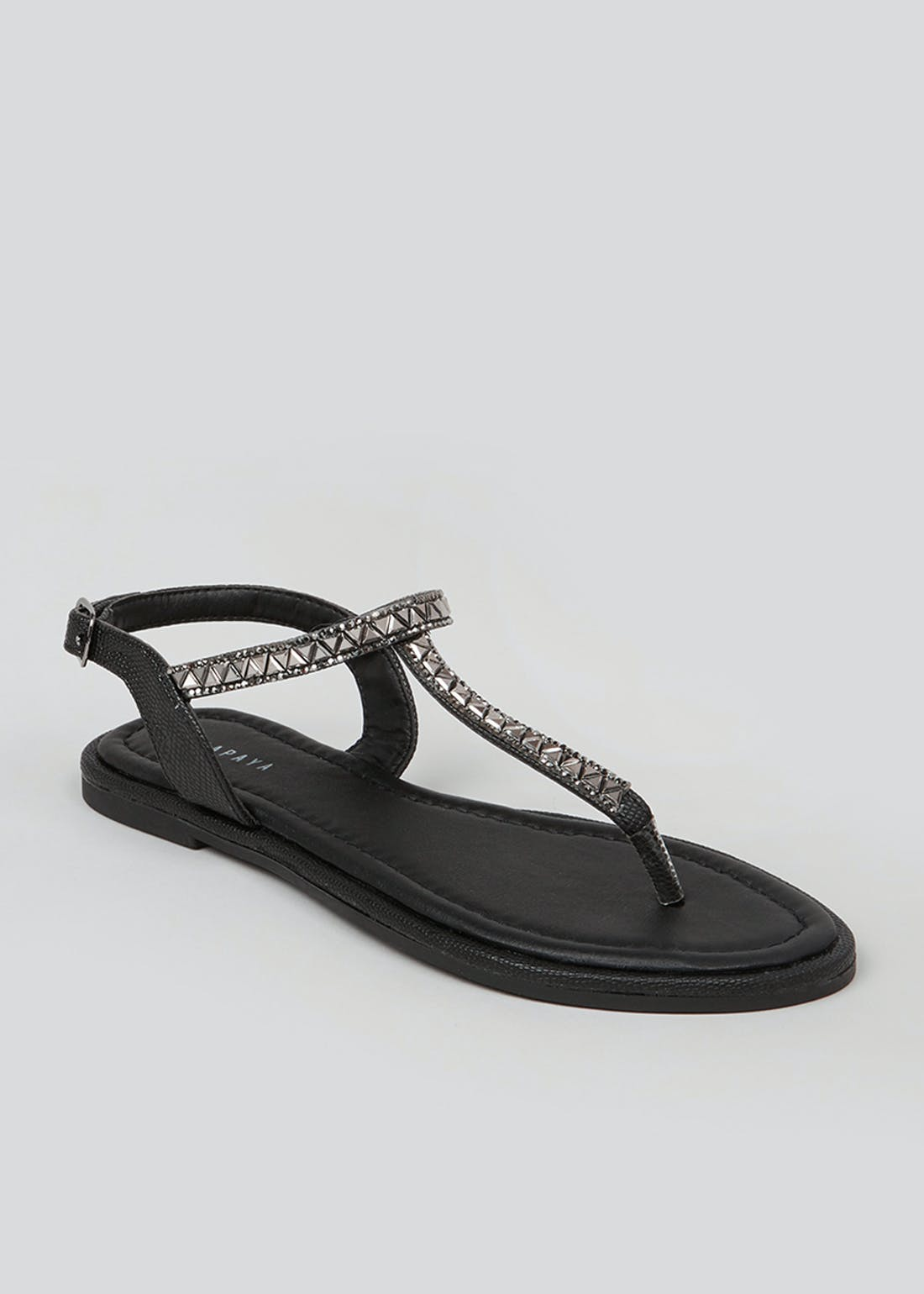 Black Diamante Strappy Sandals