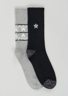 2 Pack Embroidered Star Thermal Socks