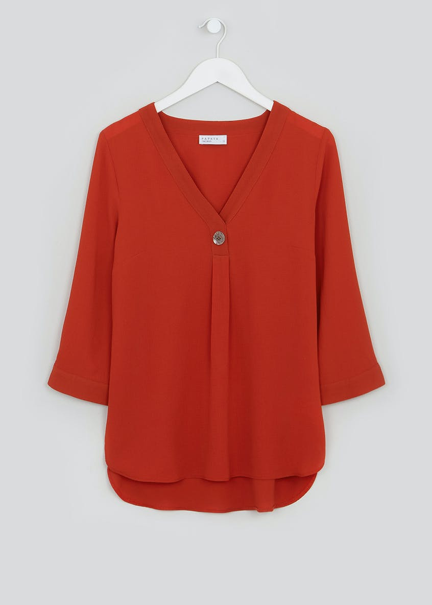 Papaya Petite Rust 3/4 Sleeve Button Detail Blouse