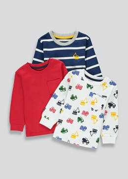 Boys 3 Pack Long Sleeve Jersey T-Shirts (9mths-6yrs)