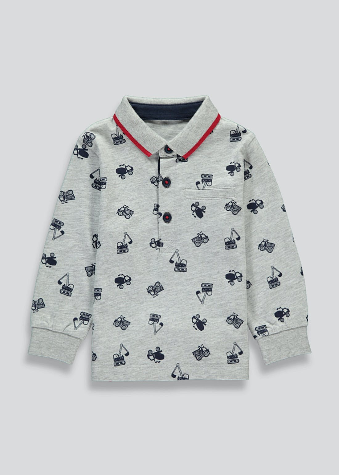 Boys Long Sleeve Digger Polo Shirt (9mths-6yrs)