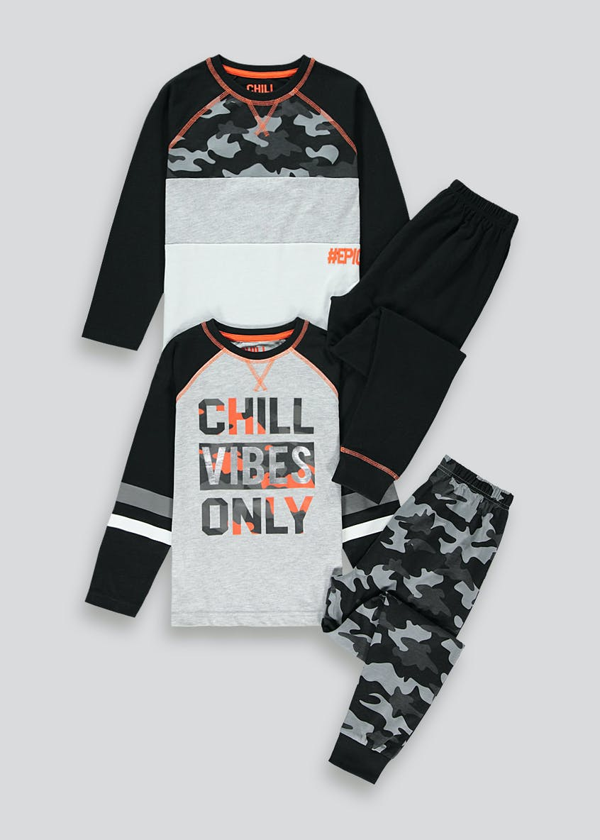 Boys 2 Pack Chill Vibes Only Pyjamas (4-13yrs)