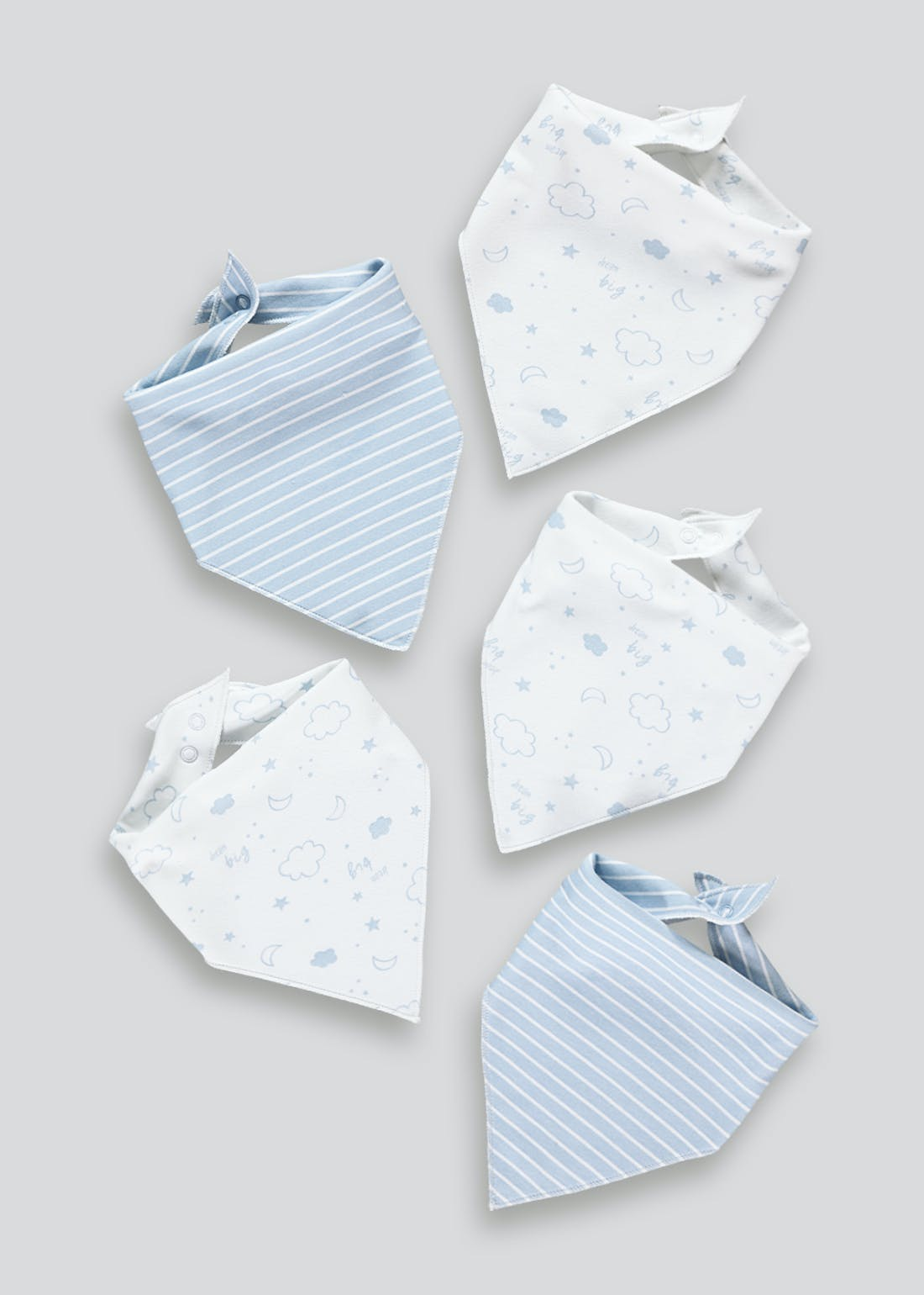 5 Pack Printed Bandana Bibs (One Size)