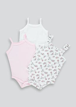 Girls 3 Pack Cami Bodysuits (Tiny Baby-23mths)