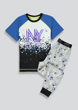 Boys NY Print Pyjama Set (4-13yrs)