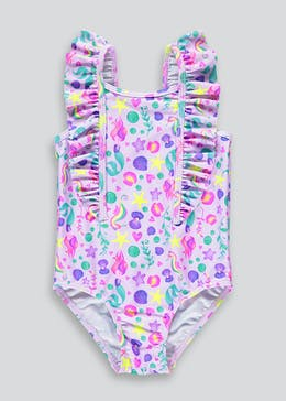 Girls Mermaid Print Swimming Costume (3mths-6yrs)