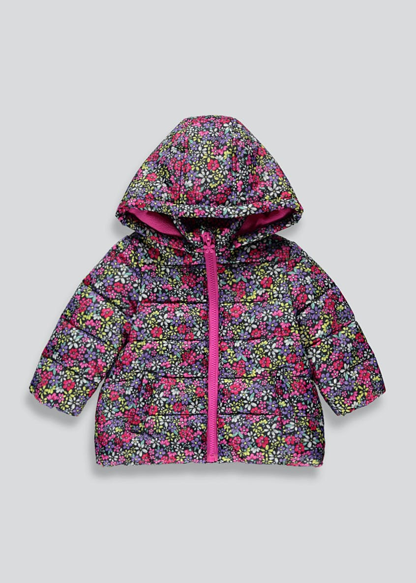 Girls Pink Padded Floral Coat (9mths-6yrs)