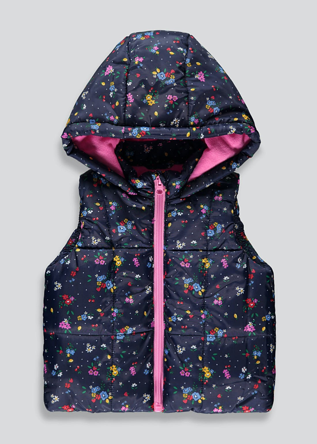 Girls Navy Floral Hooded Gilet (9mths-6yrs)