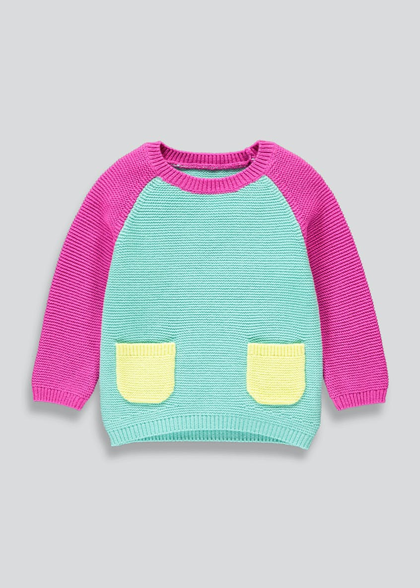 Girls Chenille Colour Block Jumper (9mths-6yrs)