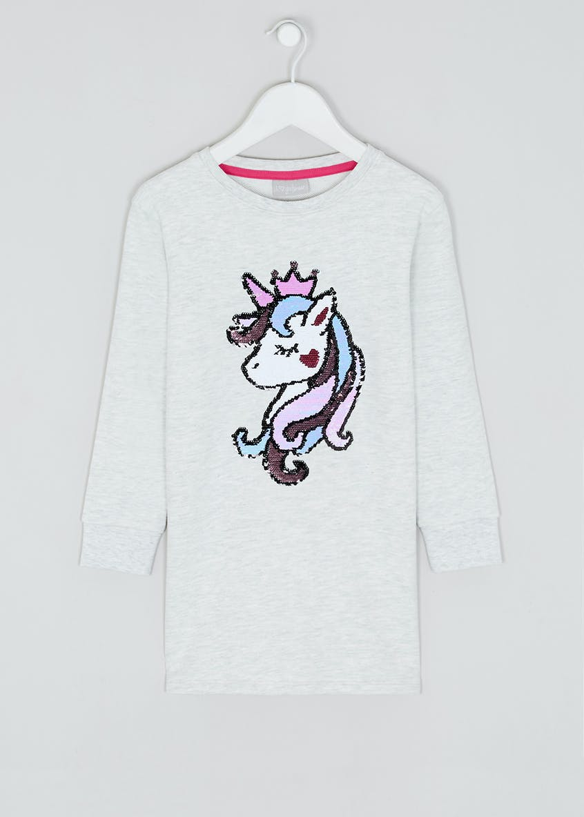 Girls Grey Long Sleeve Unicorn Sweatshirt Dress (4-13yrs)
