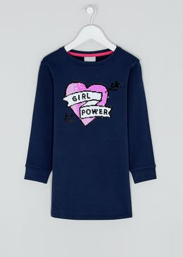 Girls Navy Heart Long Sleeve Sweatshirt Dress (4-13yrs)