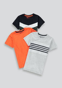 Boys 3 Pack Chevron Print T-Shirts (4-13yrs)