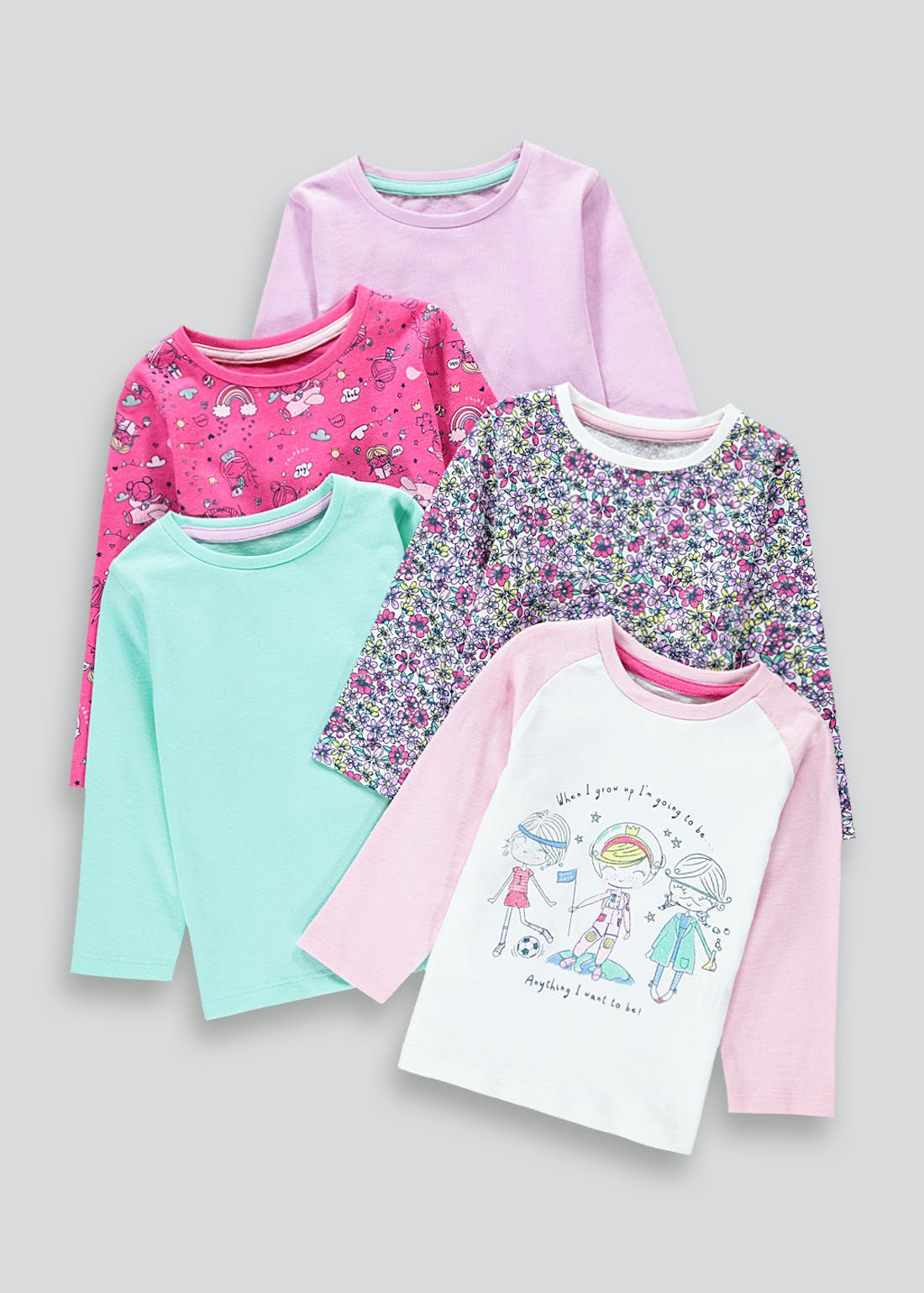 Girls 5 Pack Girls World Tops (9mths-6yrs)