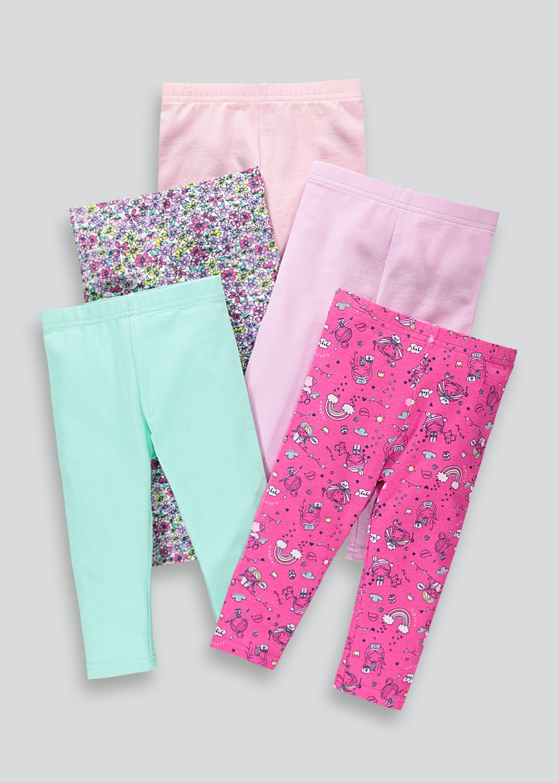 Girls 5 Pack Girls World Leggings (9mths-6yrs)