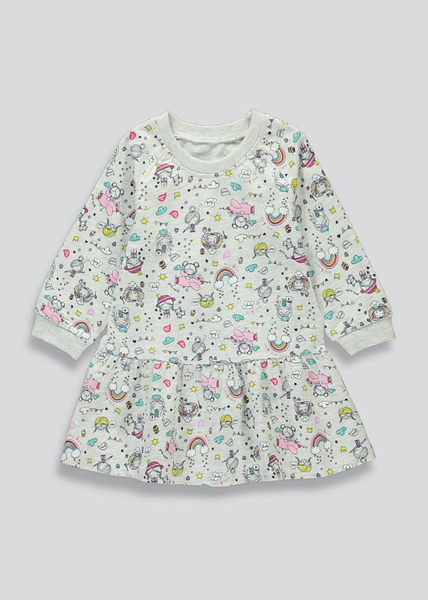 Girls Grey Printed Long Sleeve Jersey Dress (9mths-6yrs)