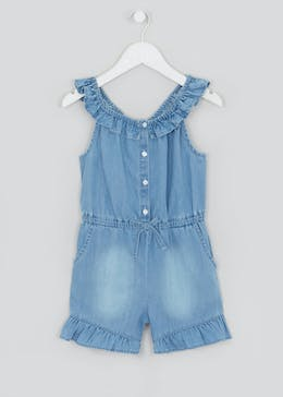 Girls Denim Ruffle Playsuit (4-13yrs)