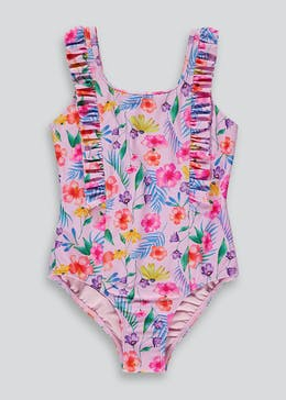Girls Floral Frill Swimming Costume (4-13yrs)