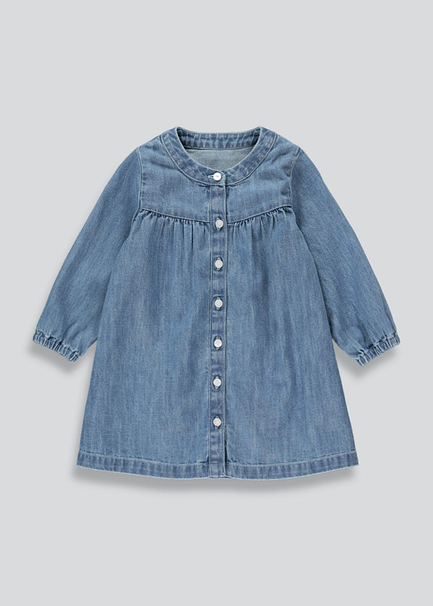 Girls Denim Long Sleeve Tunic Dress (9mths-6yrs)