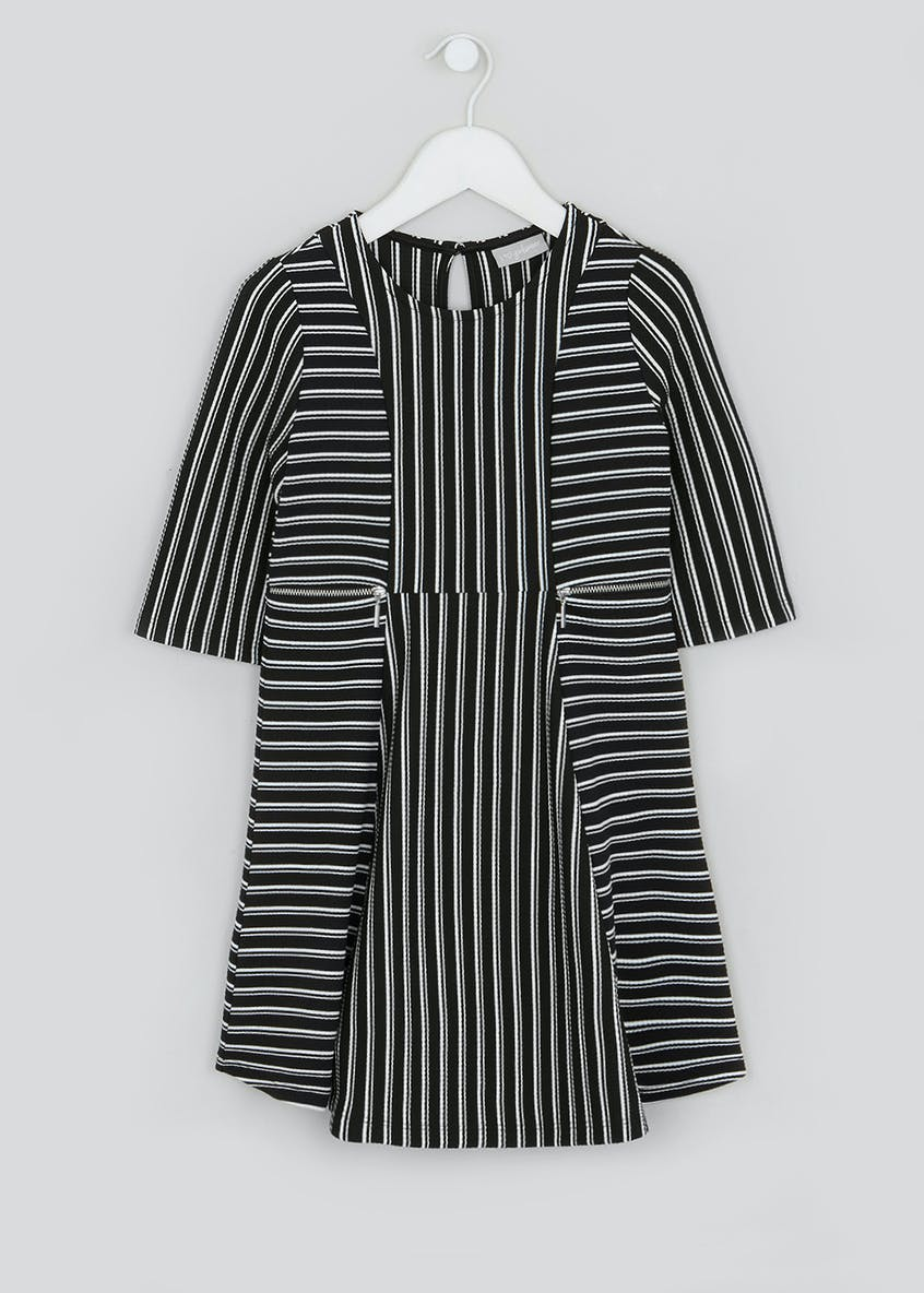 Girls 3/4 Sleeve Black Stripe Dress (4-13yrs)
