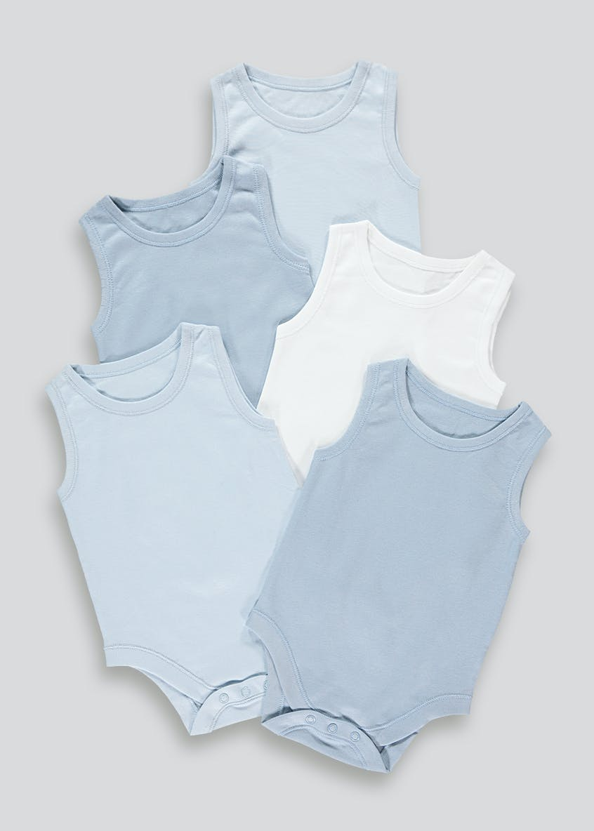 Boys 5 Pack Sleeveless Bodysuits (Newborn-23mths)