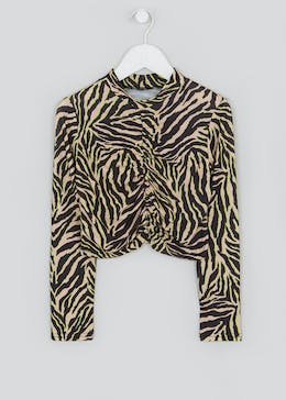 Girls Candy Couture X Ruched Zebra Top (9-16yrs)