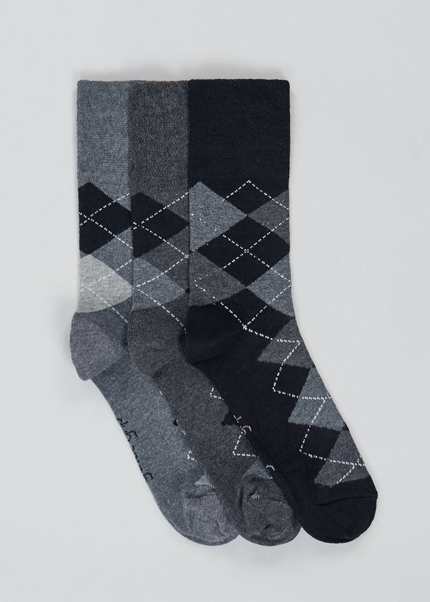 3 Pack Argyle Gentle Grip Socks