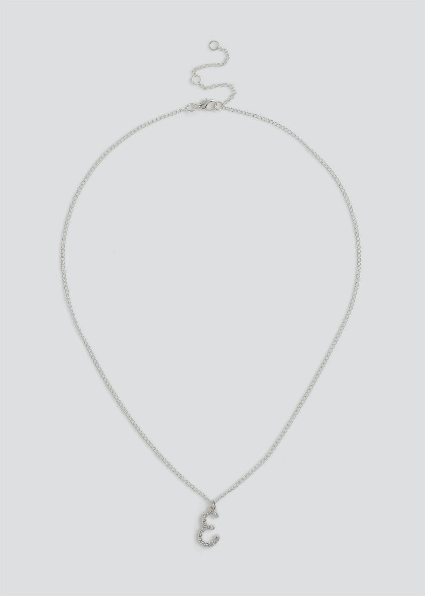 Girls Silver 'E' Initial Necklace