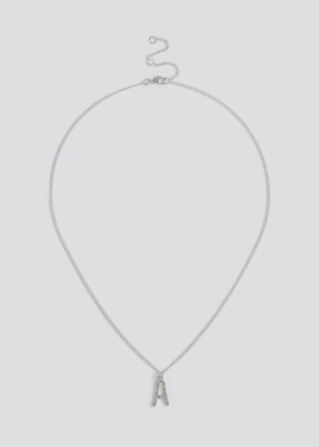 Girls Silver 'A' Initial Necklace