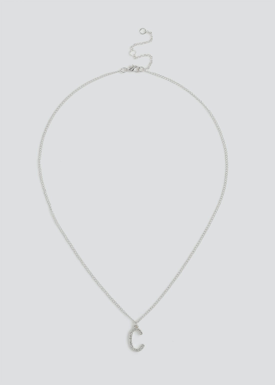 Girls Silver 'C' Initial Necklace