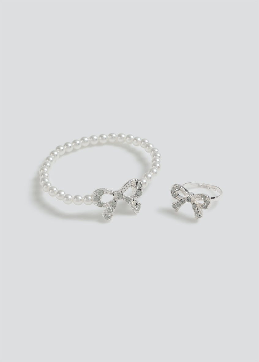 Girls Bow Pearl Bracelet and Ring Gift Set
