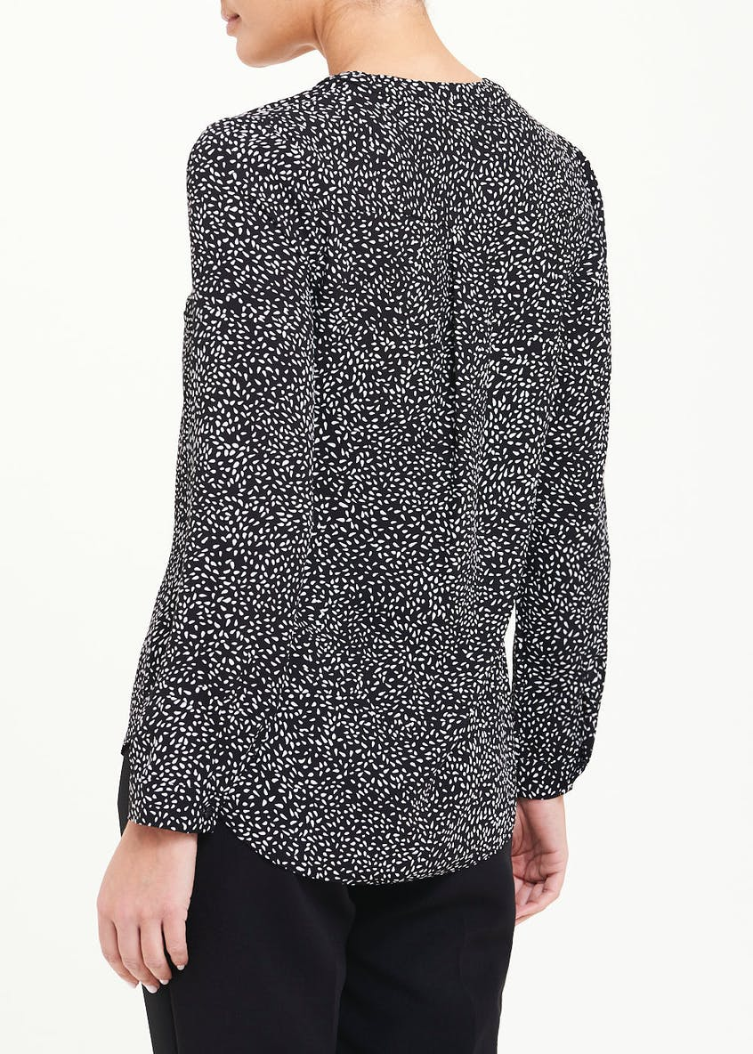 Black Long Sleeve Abstract Dot Blouse