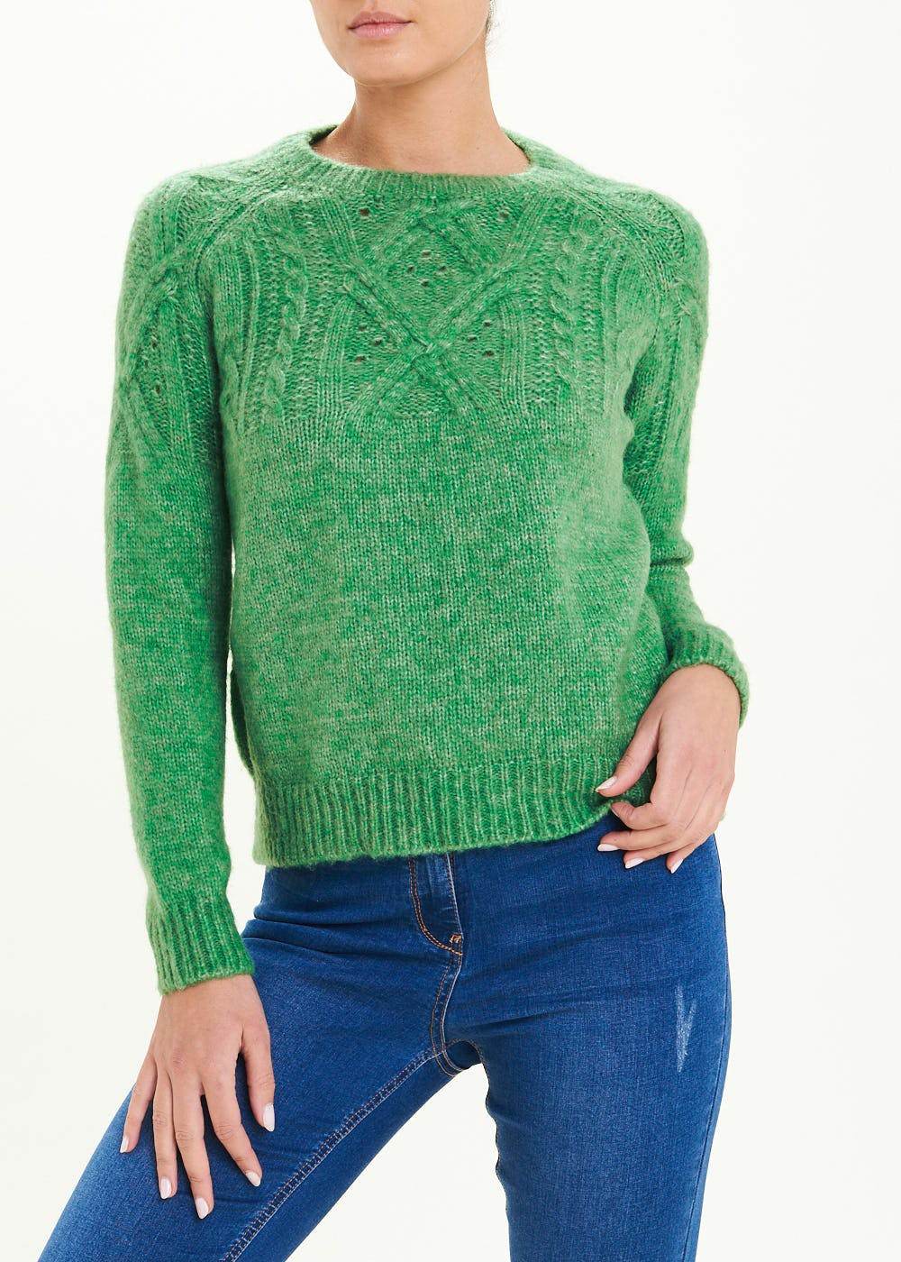 Crew Neck Cable Jumper – Green