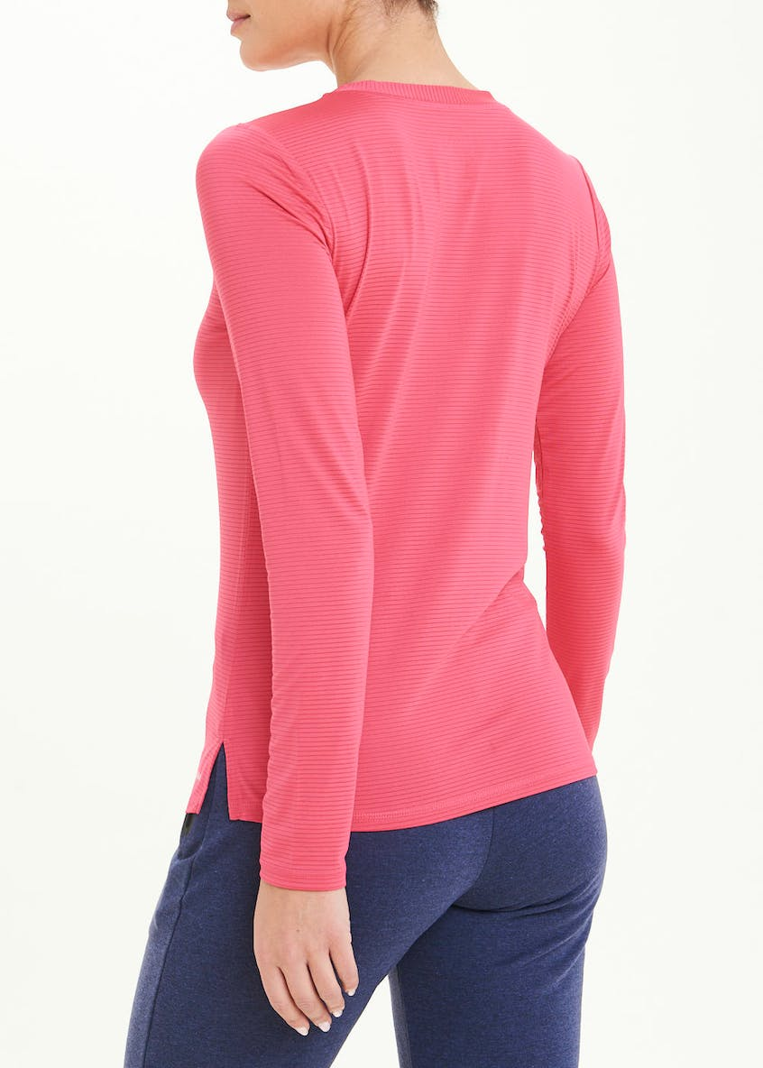 Souluxe Pink Long Sleeve Stripe Gym Top
