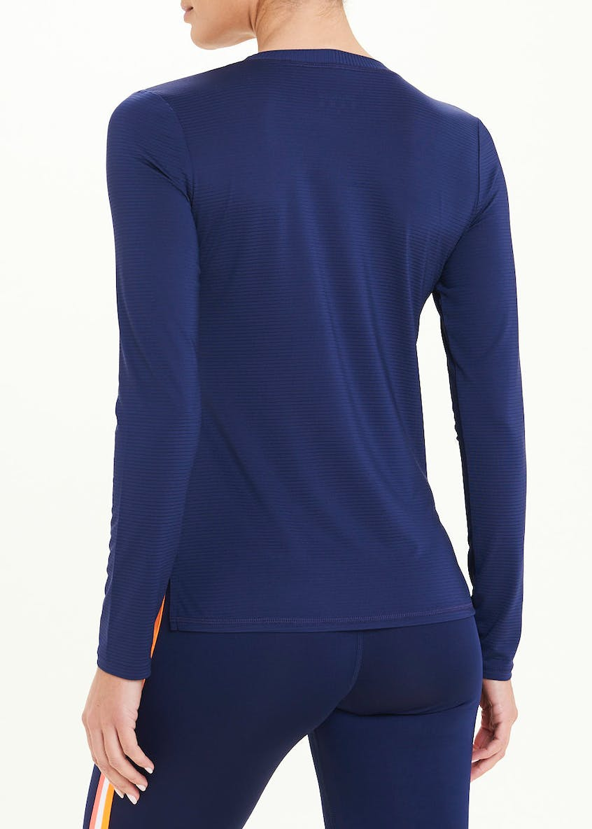 Souluxe Navy Long Sleeve Stripe Gym Top