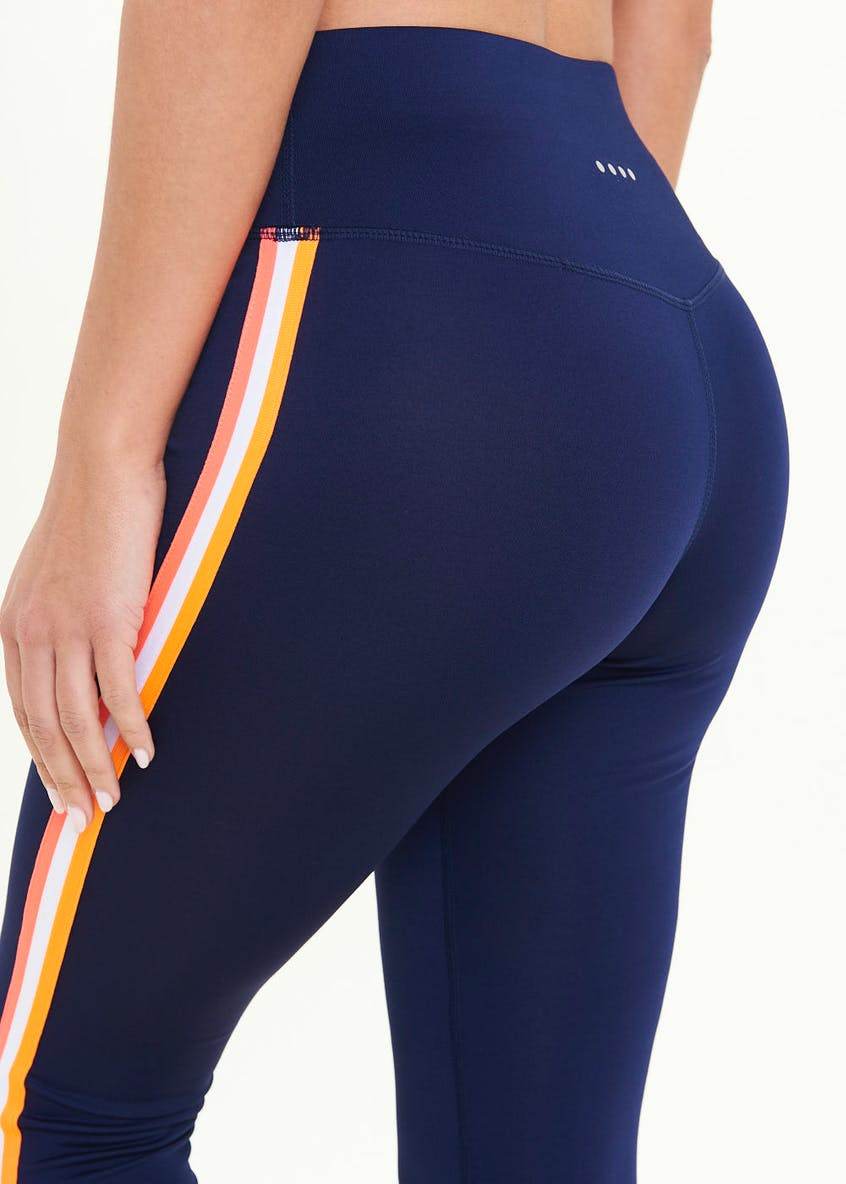 Souluxe Navy Side Stripe Gym Leggings