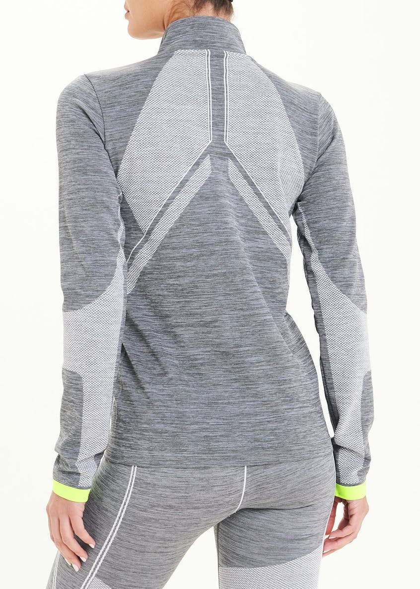 Souluxe Grey Seamless Zip Through Gym Sweatshirt