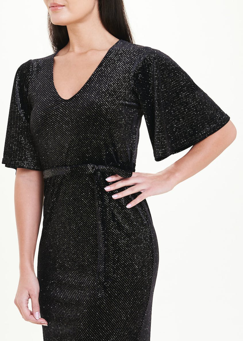 Black Short Sleeve Velvet Sparkle Midi Dress