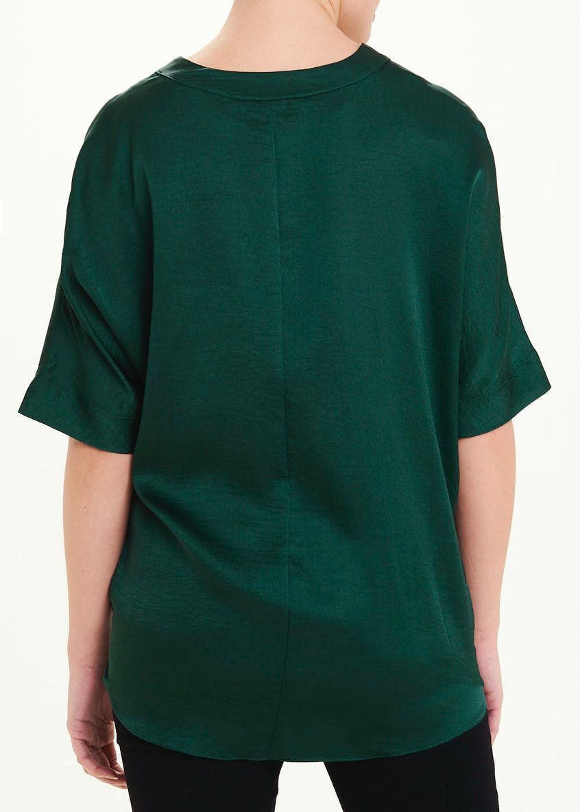 Green Short Sleeve Twist Front Blouse